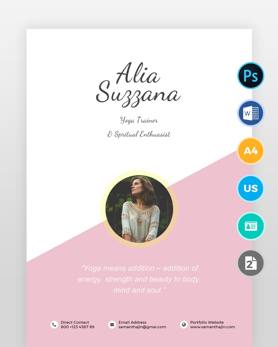 Yoga-Teacher-Resume-Template2 - by printableresumes.com